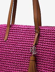 Lauren Ralph Lauren - Crochet-Straw Medium Whitney Tote - shoppere - nouveau bright pi - 3