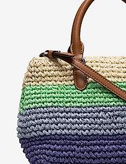 Lauren Ralph Lauren - Crochet-Straw Mini Marcy II Satchel - skuldertasker - cool stripe/laure - 3