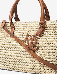 Lauren Ralph Lauren - Crochet-Straw Mini Marcy II Satchel - skuldertasker - natural/lauren ta - 3