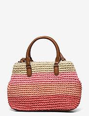 Lauren Ralph Lauren - Crochet-Straw Mini Marcy II Satchel - skuldertasker - warm stripe/laure - 1