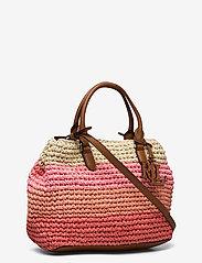 Lauren Ralph Lauren - Crochet-Straw Mini Marcy II Satchel - skuldertasker - warm stripe/laure - 2