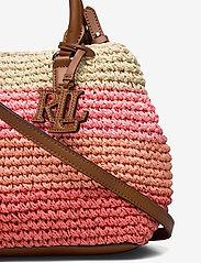 Lauren Ralph Lauren - Crochet-Straw Mini Marcy II Satchel - skuldertasker - warm stripe/laure - 3