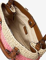 Lauren Ralph Lauren - Crochet-Straw Mini Marcy II Satchel - skuldertasker - warm stripe/laure - 4