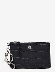Embossed Leather Zip Card Case - LAUREN NAVY