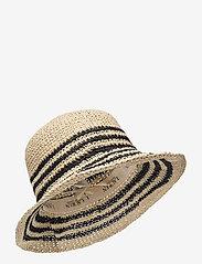 Lauren Ralph Lauren - Striped Crochet Bucket Hat - stråhatte - natural/black - 0
