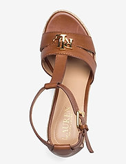 Lauren Ralph Lauren - Hale Leather Sandal - højhælede espadrillos - deep saddle tan - 3