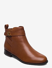 Lauren Ralph Lauren - Bonne Leather Bootie - flade ankelstøvler - deep saddle tan - 0