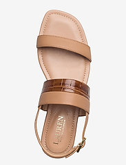 Lauren Ralph Lauren - Kristi Embossed Nappa Leather Sandal - flade sandaler - nude/deep saddle - 3