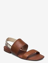 Lauren Ralph Lauren - Karter Burnished Leather Sandal - flade sandaler - deep saddle tan - 0