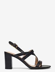 Lauren Ralph Lauren - Mackensie Burnished Leather Sandal - højhælede sandaler - black - 1