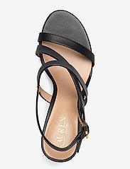 Lauren Ralph Lauren - Mackensie Burnished Leather Sandal - højhælede sandaler - black - 3