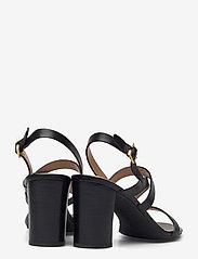 Lauren Ralph Lauren - Mackensie Burnished Leather Sandal - højhælede sandaler - black - 4