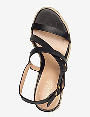 Lauren Ralph Lauren - Haleigh Burnished Leather Espadrille - espadrilles met sleehak - black - 3