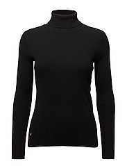 STRETCH COTTON MODL-L/S TURTLE NECK - POLO BLACK