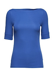 Cotton Boatneck T-Shirt - BRIGHT COBALT