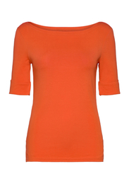 Cotton Boatneck T-Shirt - DUSK ORANGE