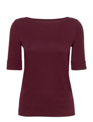 Cotton Boatneck T-Shirt - PINOT NOIR
