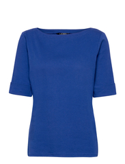 Cotton Boatneck T-Shirt - ROYAL COBALT
