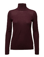 Stretch Silk Turtleneck - RED SANGRIA