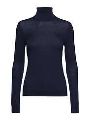 Ribbed Silk-Blend Turtleneck - NAVY