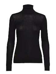Ribbed Silk-Blend Turtleneck - POLO BLACK