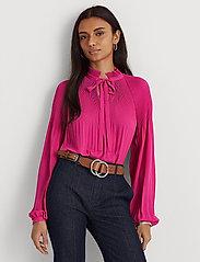 Lauren Ralph Lauren - Georgette Tie-Neck Top - blouses à manches longues - nouveau bright pi - 0