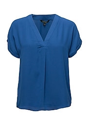 Georgette V-Neck Top - BRIGHT COBALT