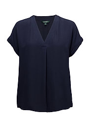Georgette V-Neck Top - NAVY