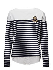 LT WT PLAIT CTN JSY-LS TOP - NAVY/WHITE