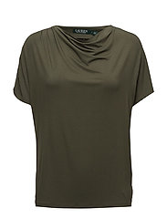 STR CHIC VIS JRSY-ELBOW SLV TOP - ADMIRAL GREEN