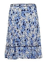 MATTE CHARMEUSE-PLEATED SKIRT - BLUE MULTI