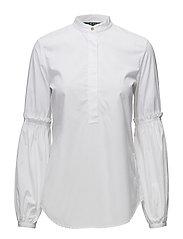 Broadcloth Bishop-Sleeve Shirt - WHITE