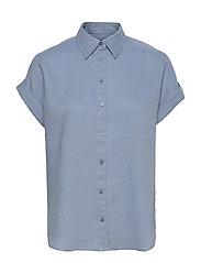 Linen Short-Sleeve Shirt - DUST BLUE
