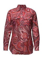 Cotton Silk Button-Down - RED MULTI