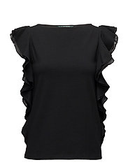 Ruffled Cotton Top - POLO BLACK