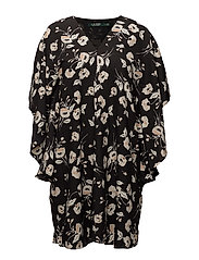 Floral Crepe Shift Dress - BLACK/PEACH