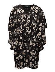 Floral Crepe Shift Dress - BLACK/PEACH