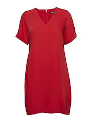 Roll-Tab-Sleeve Shift Dress - CRIMSON