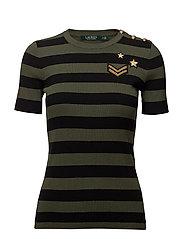 Striped Button-Trim Sweater - ADMIRAL GREEN/POL