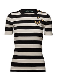 Striped Button-Trim Sweater - POLO BLACK/MASC C