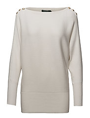 Button-Shoulder Cotton Sweater - MASCARPONE CREAM