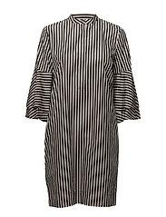 Ruffle-Sleeve Shift Dress - POLO BLACK/PARCHM