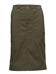 Stretch Cotton Chino Skirt - JUTE MOSS