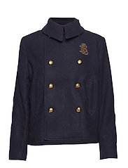 Bullion-Patch Wool-Blend Coat - NAVY