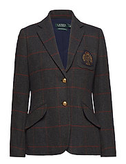 Bullion-Patch Tweed Blazer - GREEN/BLUE MULTI