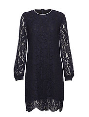Stripe-Trim Lace Dress - NAVY
