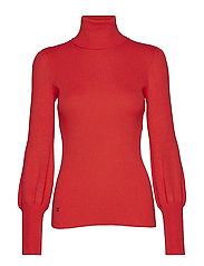 Ribbed Puff-Sleeve Sweater - VERMILION FLAME