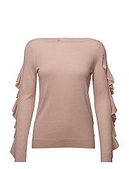 Ruffled Silk-Blend Sweater - DEMURE PINK