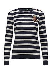 Bullion-Patch Striped Sweater - NAVY/MASCARPONE C
