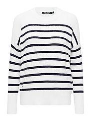 Striped Cotton-Blend Sweater - MASCARPONE CREAM/